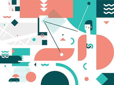 Test, test, test ui colors vector flat usability testing rideshare illustration illustrator app
