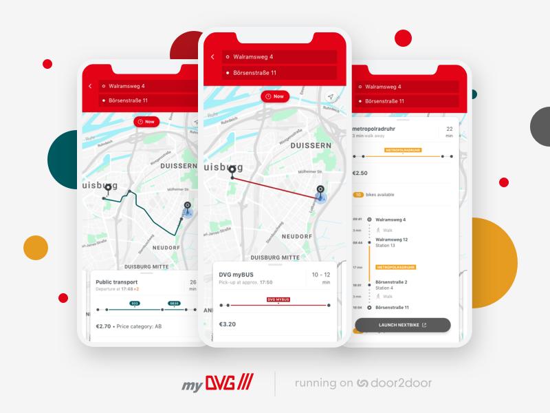 myDVG multimodal app rideshare ridepooling ux-ui uidesign public transportation maps transportation mobility android iphone x iphone app
