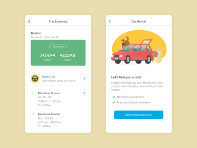 Need a ride? car rental car flights traveling travel app app uiux ui ux ios hopper