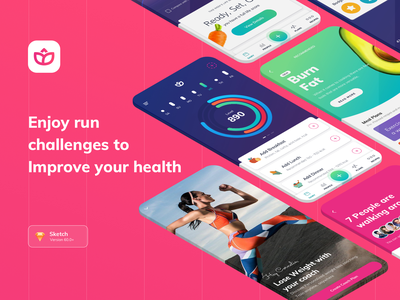 Health and fitness home screen app screen home screen meal recipe app charts analitycs social connection daily health goal fitness tracking app health goal fitness app health app interaction mobile app material ux ui design