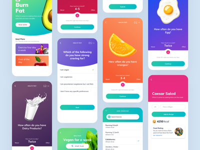 Questions - Daily routine task screen sketch figma fit meal steps designer illustration ios mobile android app material design interaction user interface user experience ux ui question and answer