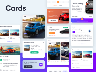 Car Components page android app cars clean material interaction web responsive components cards design app mobile app ux ui expert review feature offers