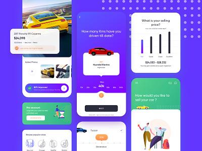 Sell your car @ mobile app vector illustrator web designer ui design ux design motion design car app clean minimal app ux ui car design graphics graphic design interactive interaction material