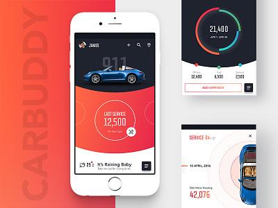 Carbuddy app online expenses tracking clean ui health mobile material ios car design app