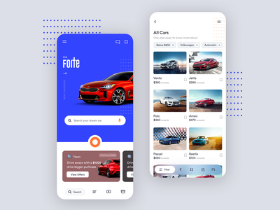 Car app design illustration new way user experience ux online shop moments with car offers on model easy filters car app interaction design app design ui design app rental app design android app design ios app design listing screen car and bike app car automobile material home screen