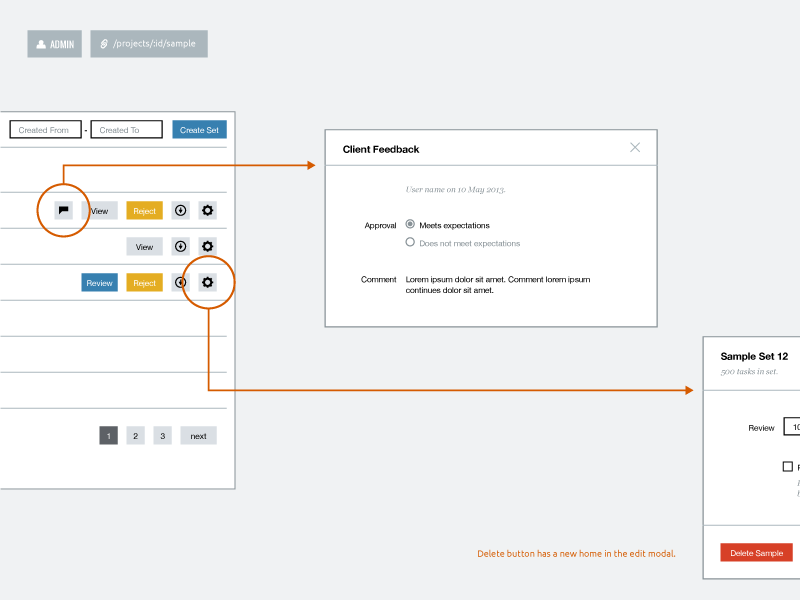 Wireframe Template product samahub web app ui ux wireframe template modal annotation process wireflow