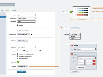 Coordinate Settings web samahub app ui product wireframe wireflow ux annotation settings