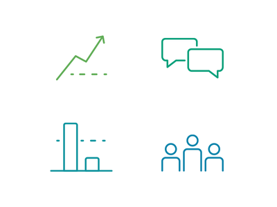 Sirono Feature Icons marketing icons vector line art yield communication patients branding enterprise sirono