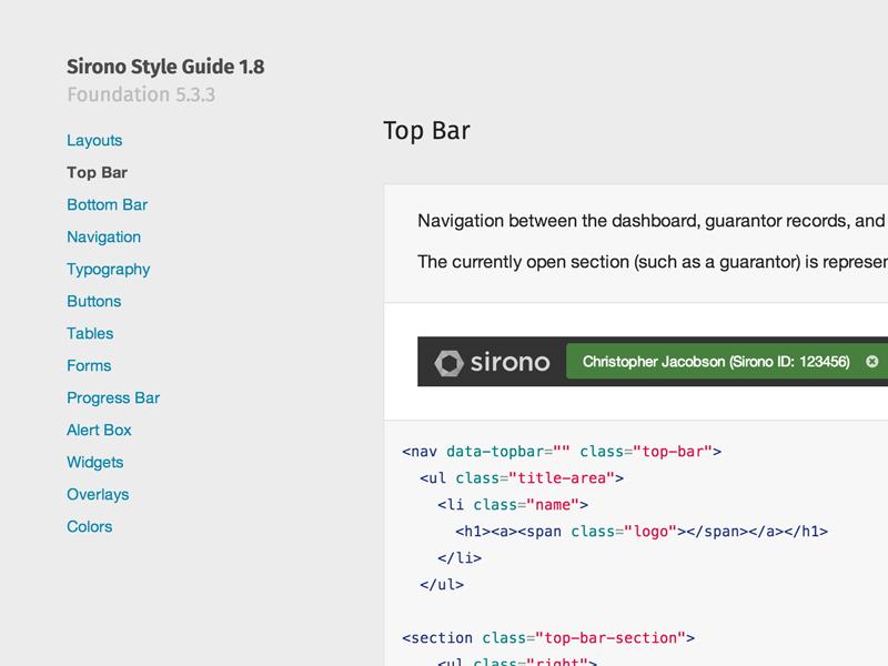 Sirono Style Guide web app ui product process style guide sass html sirono