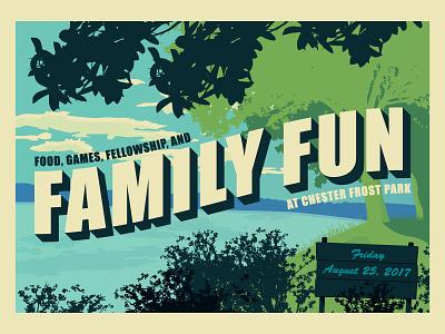 Family Fun Postcard national park summer tennessee chattanooga vector illustration postcard fun family