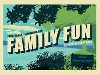 Family Fun Postcard national park summer tennessee chattanooga vector illustration postcard fun family