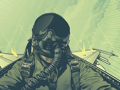 Fighter Pilot illustration flyer digital illustration comic photoshop