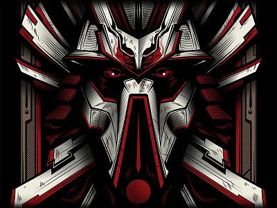 City Samurai illustration flyer digital illustration illustrator tshirt apparel design