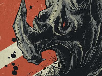 Charging Rhino  illustration flyer digital illustration photoshop