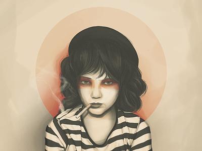 Apathy photoshop 20ies girl digital painting