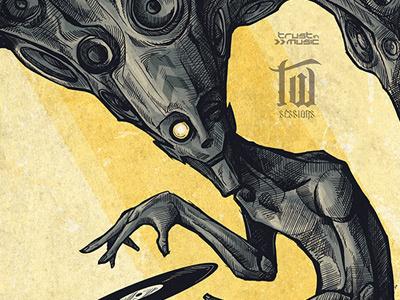 Twisted Selector digital illustration gig poster