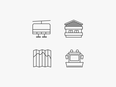 Alp Living icons clean simple ski lift illustrations line drawing map house personal project minimalistic