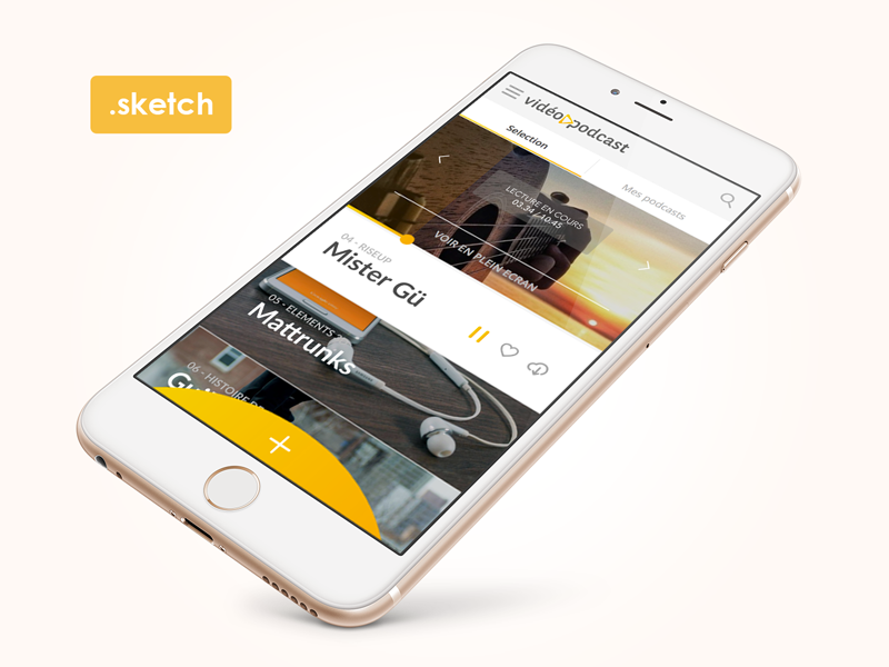 Free Sketch3 - App Video Podcast sketch 3 freebies free podcast video sketch sketch3 ux ui app