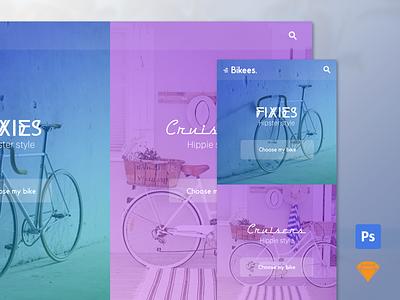 "Free .psd + .sketch - ""Bikees."" website cruisers fixies fullscreen bicolor bike landing home sketch 3 photoshop freebies free"