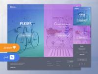 "Free .psd + .sketch - ""Bikees."" website cruisers fixies fullscreen bicolor bike landing home sketch 3 photoshop freebies free"