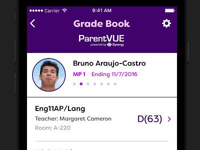 ParentVUE Gradebook digital list purple concept redesign app