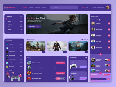 GAMEZONE DASHBOARD website dashboarddesign action dashboard webdesign web playstation accessories chat social controller gaming games uiux ux uiuxdesigner uiuxdesign uidesigner ui design