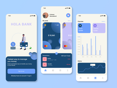 HOLA BANK applicationdesign appdesign appliaction illustration apple ios iphone mobile mobileapp mobilebanking mobilebank app uxdesigner uiux ux uiuxdesigner uiuxdesign uidesigner ui design