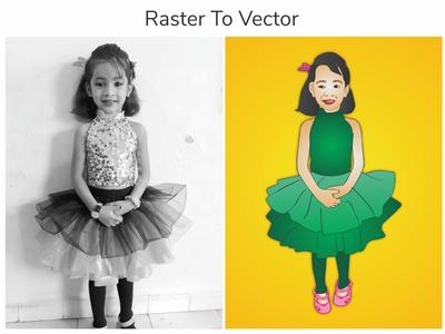 Raster to Vector | illustration | Cartoon Character | Tracing