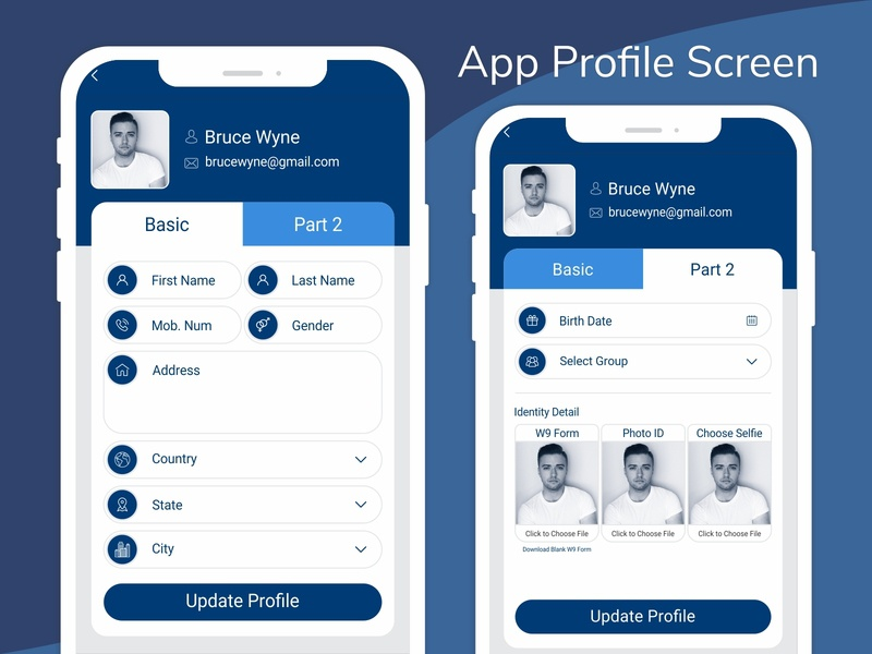 Application Profile Screen | Ui | Ux