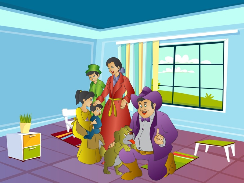 Cartoon illustration of the happy family