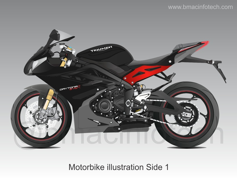 Triumph Motorbike illustration Side 1
