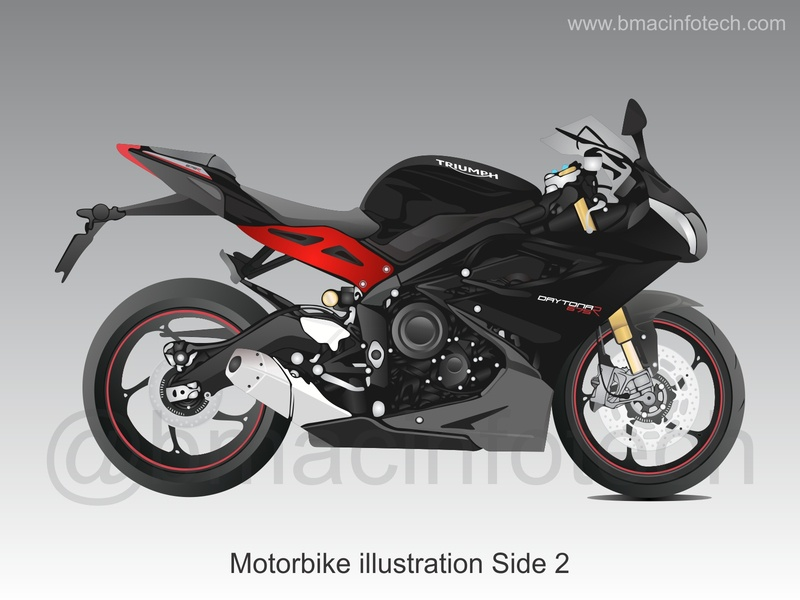 Triumph Motorbike illustration Side 2