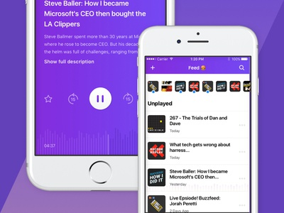 Podcast App play pause volume listen purple waveform audio player feed podcast app design ios design