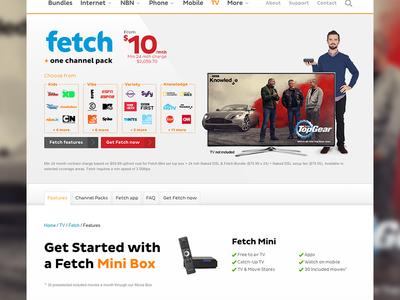 iiNet Fetch UX/UI refresh entertainment fetch website design iinet ui ux