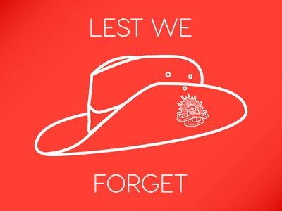 In Honour - Lest we forget army australia line art hat anzac