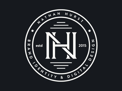 Nathan Hurst Monogram circle brand identity nh nhd lines brand branding logo design logo badge monogram wip