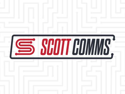 Scott Comms simple black red telecommunications logo communications c s comms scott