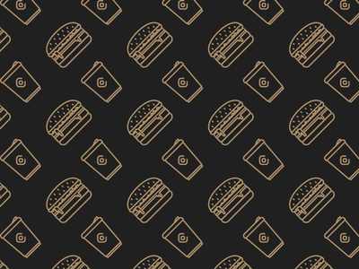 Burger & Coffee Pattern icon gold outline pattern coffee burger