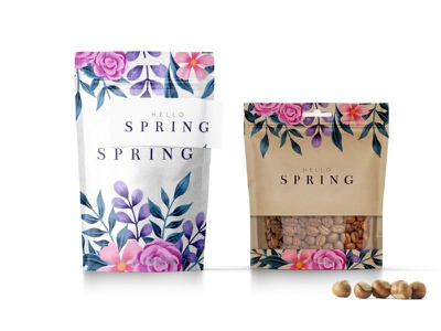 Hello Spring Stand up Pouch Mockup mockup pouch up stand spring hello