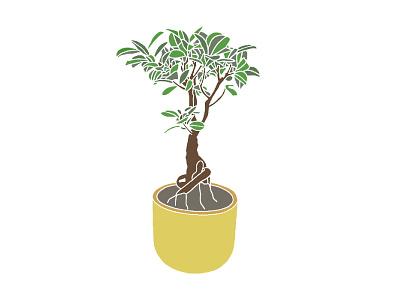 BONSAI AND POT art plant nature logo illustrator illustration icon graphic design design app animation