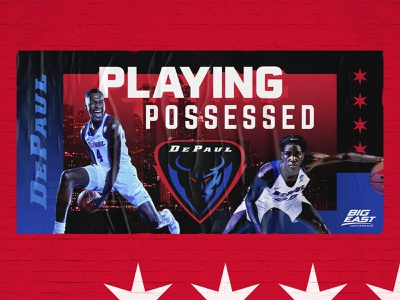 """DePaul Blue Demons """"Playing Possessed"""" 2019 poster stars demon wallscape ooh layout typography gradient bold athletic sports basketball depaul chicago"""