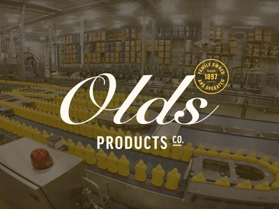 Olds Products Co. Website modern badge lockup wisconsin family-owned family yellow clean olds mustard small business website