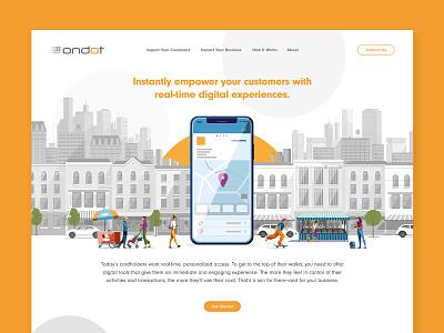 Ondot Website pop grayscale city circles geometric product design product bright fun fintech startup tech dots pattern clean illustration vector design branding website