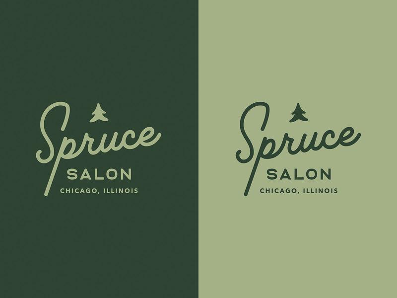 WIP: Spruce Salon Branding vintage tree script green chicago salon hair spruce clean lockup logo branding