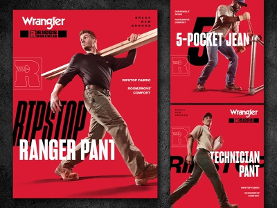 Wrangler RIGGS POS Campaign sharp poster modern clean gritty red layout tech blue collar industrial workwear riggs wrangler
