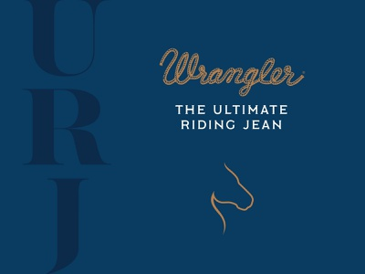 Wrangler Ultimate Riding Jean Logo illustration line logo lockup western country serif simple clean silhouette clothing apparel branding jeans horse riding wrangler