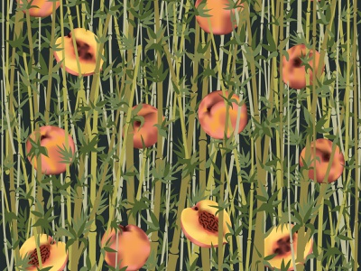Peaches and bamboo stems nature art juicy asia oriental bamboo peaches print design graphic art design fabric pattern seamless pattern digital illustration