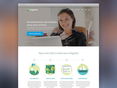 Magnetis Homepage magnetis landing page website app financial investment heroshot hero shot icons illustration brazil startup