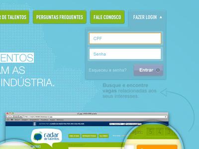 Radar de Talentos interface login web jobs colors buttons navigation blue ui