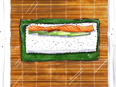 Waitrose Magazine foodie food and drink sushi bar diy wasabi sushi roll japan health drawing editorial art illustration editorial magazine howto culinary food sushi